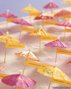 Summer parasol seating cards