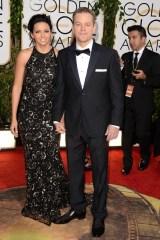Luciana Barroso and Matt Damon, who wore a Calvin Klein Collection tuxedo