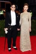 Amber Heard in Giambattista Valli dress and Fred Leighton with fiancé Johnny Depp in Ralph Lauren Purple Label